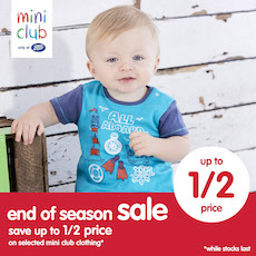 ac2a2ec2bf45 Mini Club at Boots have now started their end of season sale, with up to  50% OFF selected clothing.